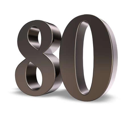 흰색 배경에 금속 번호 80 - 차원 그림