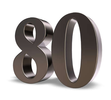 eighty: metal number eighty on white background - 3d illustration