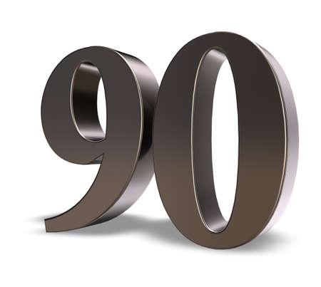 metal number ninety on white background - 3d illustration Zdjęcie Seryjne
