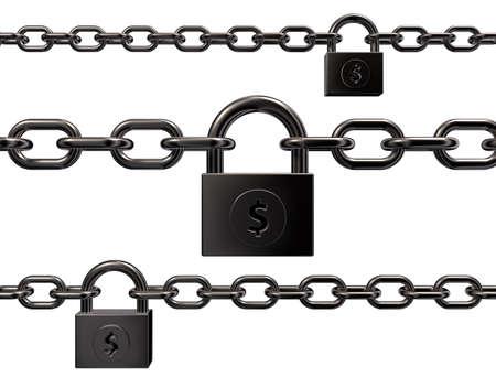 3d 일러스트 레이 션 - 흰색 배경에 달러 기호 자물쇠