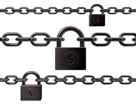 padlock with dollar symbol on white background - 3d illustration Stock Photo