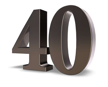 40: metal number forty on white background - 3d illustration Stock Photo