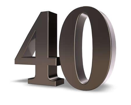 metal number forty on white background - 3d illustration Standard-Bild