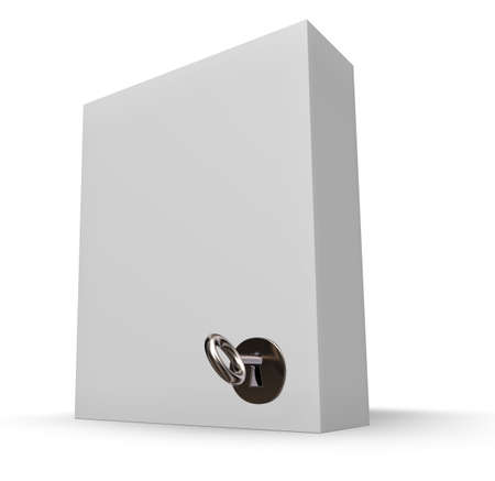 white box with lock and key - 3d illustration
