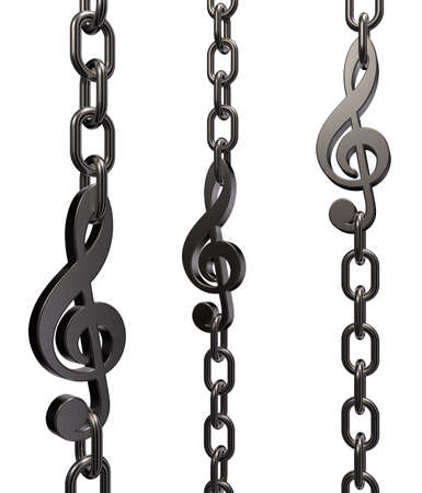 metal chains with clef on white background - 3d illustration