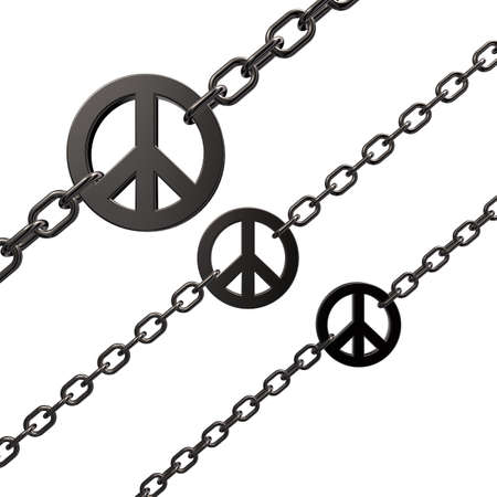 disarmament: chains with metal peace symbol on white background - 3d illustration