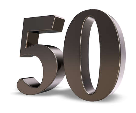 50: metal number fifty on white background - 3d illustration