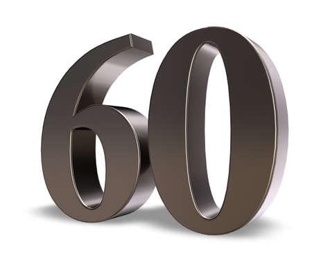 흰색 배경에 금속 번호 60 - 차원 그림 스톡 콘텐츠