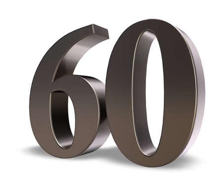 metal number sixty on white background - 3d illustration