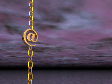 golden email symbol as part of a chain - 3d illustration illustration
