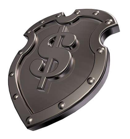 dollar symbol on metal shield - 3d illustration