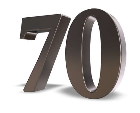 seventy: metal number seventy on white background - 3d illustration