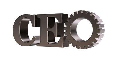 ceo: ceo tag with gear wheel on white background - 3d illustration