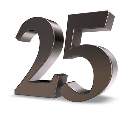 metal number twenty five on white background - 3d illustration illustration