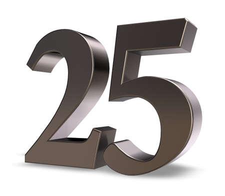 metal number twenty five on white background - 3d illustration Zdjęcie Seryjne