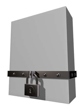 blank box with riveted iron bands and padlock - 3d illustration illustration