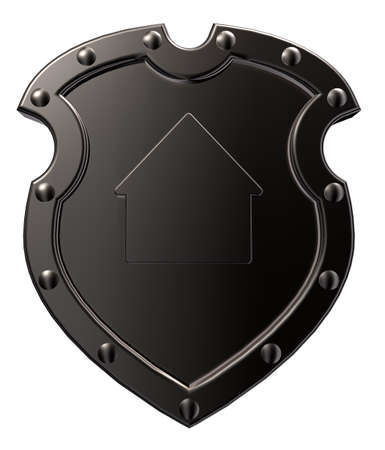 3d shield: metal shield with house symbol on white background - 3d illustration