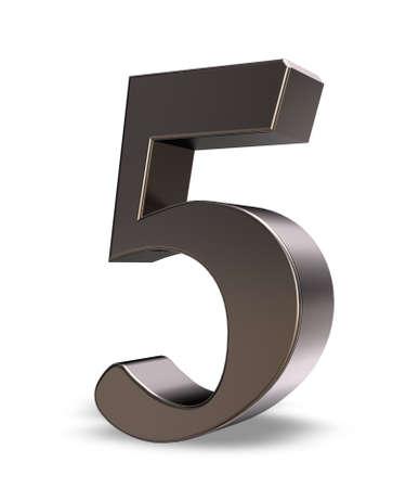 metal number five on white background - 3d illustration