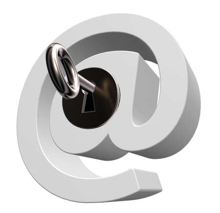 email symbol with key on white background- 3d illustration