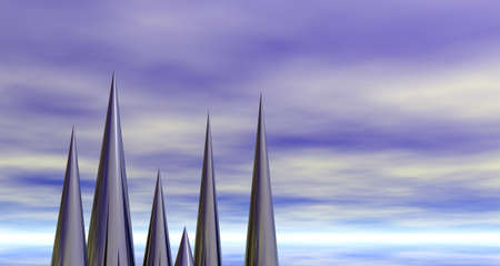 prickles: metal prickles in front of cloudy sky - 3d illustration Stock Photo