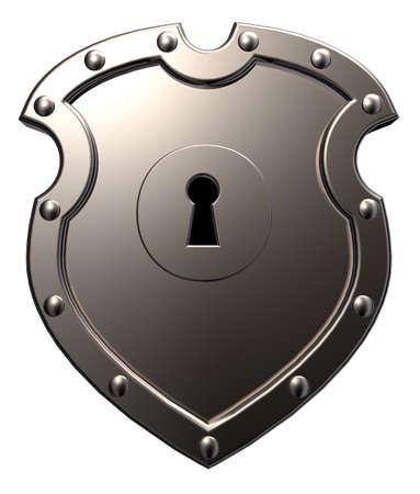 metal shield with keyhole on white background - 3d illustration Stock Illustration - 15704634