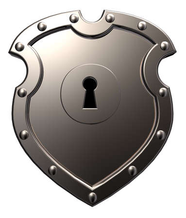 metal shield with keyhole on white background - 3d illustration Stock Photo