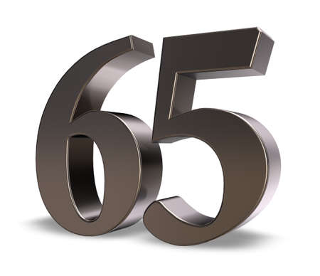 metal number sixty five on white background - 3d illustration