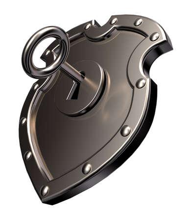 metal shield with keyhole on white background - 3d illustration Stock Illustration - 15731492