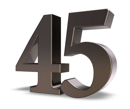 metal number forty five on white background - 3d illustration Stock Illustration - 15731493