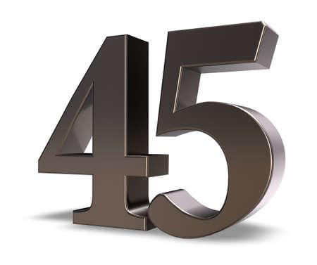 metal number forty five on white background - 3d illustration Stock Illustration - 15731493