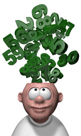 cartoon math: bunch of numbers over cartoon mans head - 3d illustration