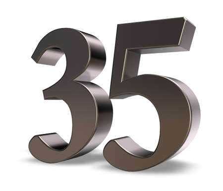 30 years: metal number thirtyfive on white background - 3d illustration