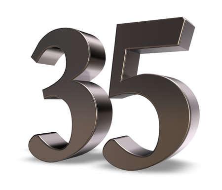 thirty five: metallo trentacinque numero su sfondo bianco - 3d illustrazione