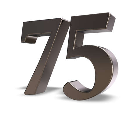 seventy: metal number seventy five on white background - 3d illustration