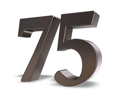 metal number seventy five on white background - 3d illustration