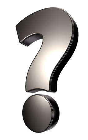 metal question mark on white background - 3d illustration Stock Illustration - 15769337