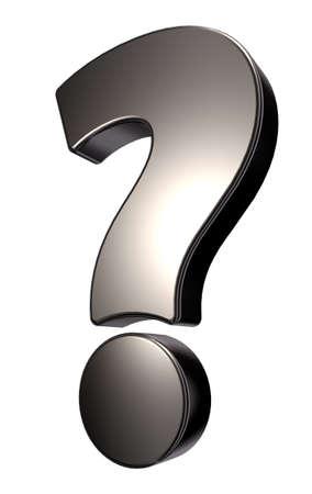 metal question mark on white background - 3d illustration Stock Illustration - 15769337