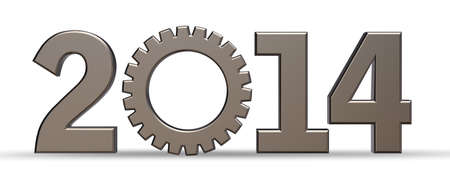 year number 2014 with gear wheel - 3d illustration Stock Illustration - 15769361
