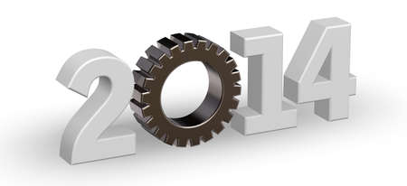 year number 2014 with gear wheel - 3d illustration Stock Illustration - 15769359