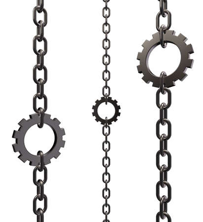 gear wheel as piece of a chain on white background - 3d illustration Stock Illustration - 15769420