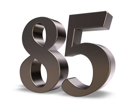 eighty: metal number eighty five on white background - 3d illustration