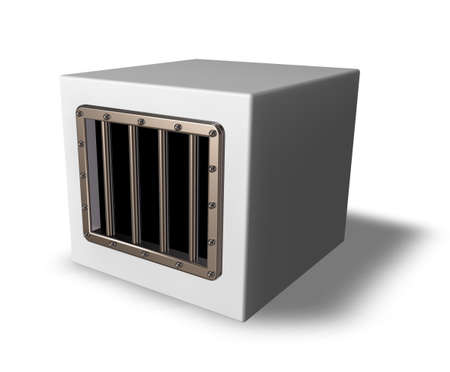 box with prison window - 3d illustration illustration
