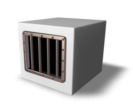 box with prison window - 3d illustration Stock Illustration - 15769388