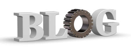 article writing: the word blog with gear wheel - 3d illustration