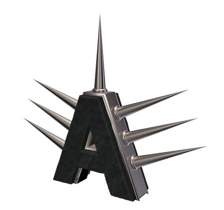 letter a with metal prickles on white background - 3d illustration illustration