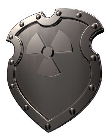 metal shield with nuclear symbol - 3d illustration Stock Illustration - 15834199