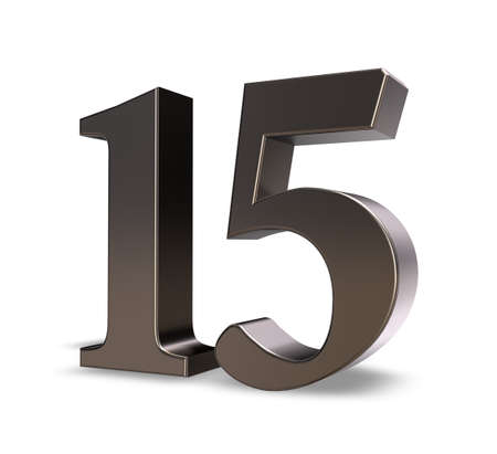 number 15: metal number fifteen on white background - 3d illustration