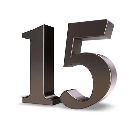 metal number fifteen on white background - 3d illustration