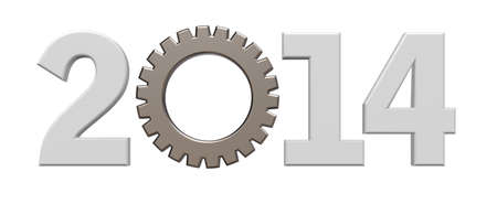 year number 2014 with gear wheel - 3d illustration Stock Illustration - 15820137