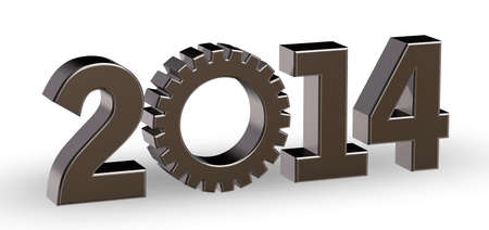 year number 2014 with gear wheel - 3d illustration Stock Illustration - 15820144